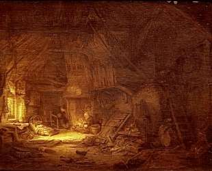 Cottage Interior with a Family around the Hearth — Адриан ван Остаде