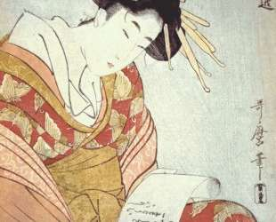 Courtesan writing a letter — Китагава Утамаро