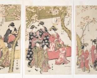 Courtesans Strolling Beneath Cherry Trees Before the Daiko — Китагава Утамаро