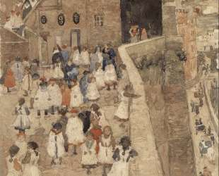 Courtyard Scene, Siena — Морис Прендергаст