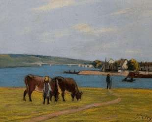 Cows by the Seine at Saint Mammes — Альфред Сислей