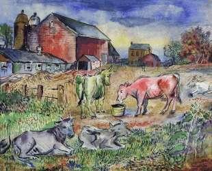 Пасущиеся коровы — Давид Бурлюк
