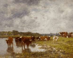 Cows in a Meadow on the Banks of the Toques — Эжен Буден