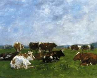 Cows in a Pasture — Эжен Буден