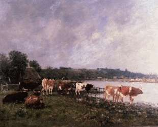 Cows on the Riverbanks of the Touques — Эжен Буден