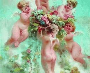 Амуры с цветами — Константин Маковский