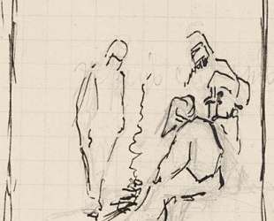 Cursory sketch of three figures by bonfire — Николай Рерих