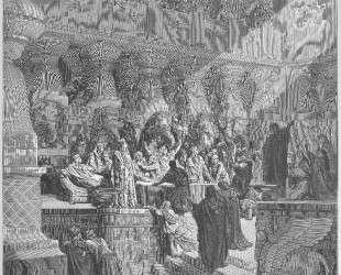 Даниил поясняет письмена на стене — Гюстав Доре