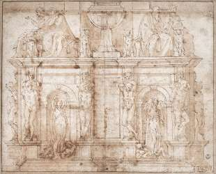 Design for Julius II tomb (second version) — Микеланджело