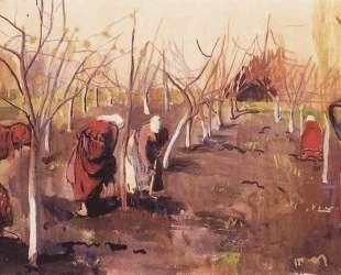 Окапывают деревья в саду — Зинаида Серебрякова
