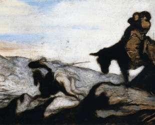 Дон Кихот и Санчо Панса в горах — Оноре Домье