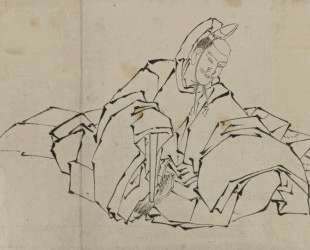 Drawing of Seated Nobleman in Full Costume — Кацусика Хокусай