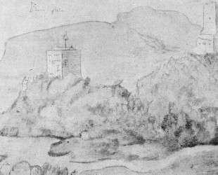 Рисунок эльзасских замков: Ортенберга (справа) и Рамштейна (слева) — Ханс Бальдунг