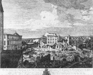 Dresden, the Ruins of the Pirnaische Vorstadt — Бернардо Беллотто