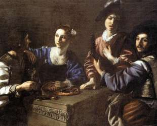 Drinking Party with a Lute Player — Николя Турнье