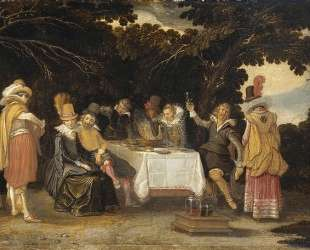 Elegant company dining in the open air — Эсайас ван де Вельде
