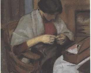 Elisabeth Gerhard sewing — Август Маке