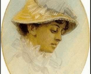 Emma Lamm in a straw hat — Андерс Цорн