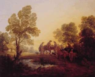 Evening Landscape Peasants and Mounted Figures — Томас Гейнсборо