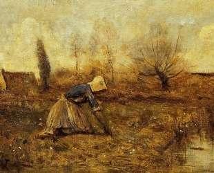 Фермерша собирает одуванчики — Камиль Коро