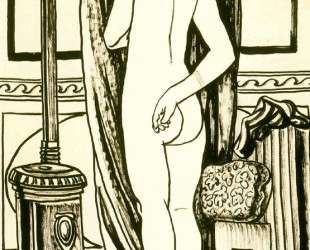 Female nude from back with stove — Рафаэль Забалета