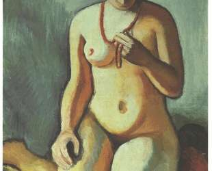 Female nude with corall necklace — Август Маке
