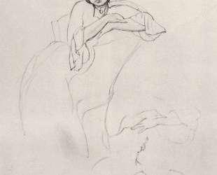 Женский портрет и наброски рук — Константин Сомов