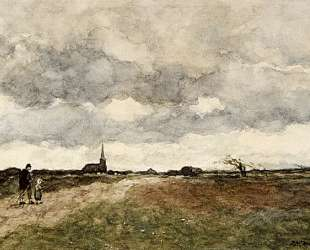 Figures On A Country Road, A Church In The Distance — Иохан Хендрик Вейсенбрух