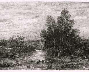 Рыбак на берегу с утками — Шарль-Франсуа Добиньи