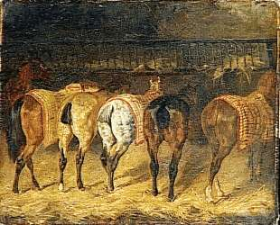 Five horses seen from behind with croupes in a stable — Теодор Жерико
