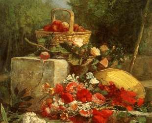 Flowers and Fruit in a Garden — Эжен Буден
