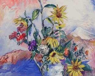 Цветы и раковины в горном пейзаже — Давид Бурлюк