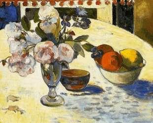 Цветы и миска с фруктами — Поль Гоген