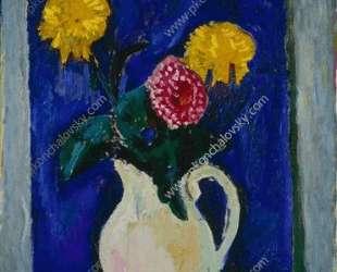 Цветы в высокой вазе — Пётр Кончаловский