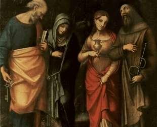 Четыре святых (слева Св. Петр, Св. Марта, Св. Мария Магдалина, Св. Леонард) — Корреджо