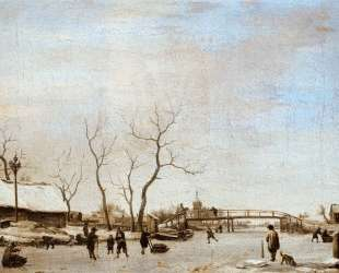 Frozen Canal with Skaters and Hockey Players — Адриан ван де Вельде