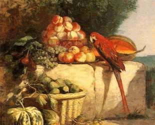 Fruit and Vegetables with a Parrot — Эжен Буден