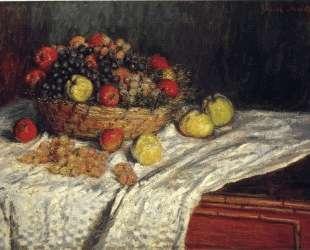 Фруктовая корзина с яблоками и виноградом — Клод Моне