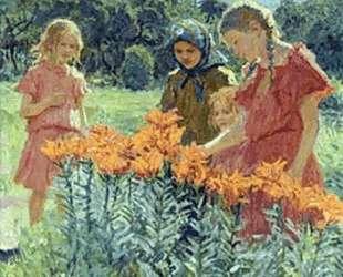 Собирая цветы — Николай Богданов-Бельский
