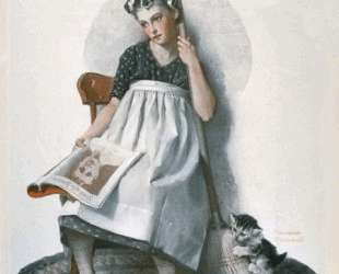 Girl Broom Kitten — Норман Роквелл