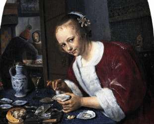 Girl eating oysters — Ян Стен