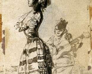 Girl Listening to a Guitar — Франсиско де Гойя