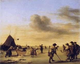 Golfers on the Ice near Haarlem — Адриан ван де Вельде