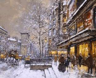 Grands Boulevard et Porte St. Denis, Sous la Neige — Антуан Бланшар