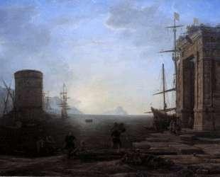 Harbour view at sunrise — Клод Лоррен