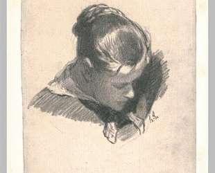 Голова молодой женщины в три четверти, справа — Оноре Домье