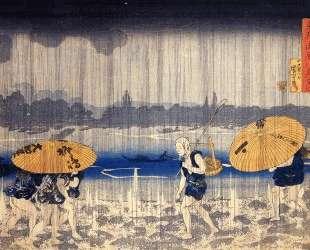 Heavy rain — Утагава Куниёси
