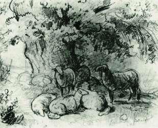 Стадо овец под дубом — Иван Шишкин