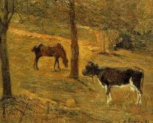 Лошадь и корова на лугу — Поль Гоген