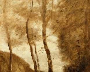 Лошадь и всадник в ущелье — Камиль Коро